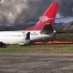 В Перу во время приземления загорелся пассажирский самолет